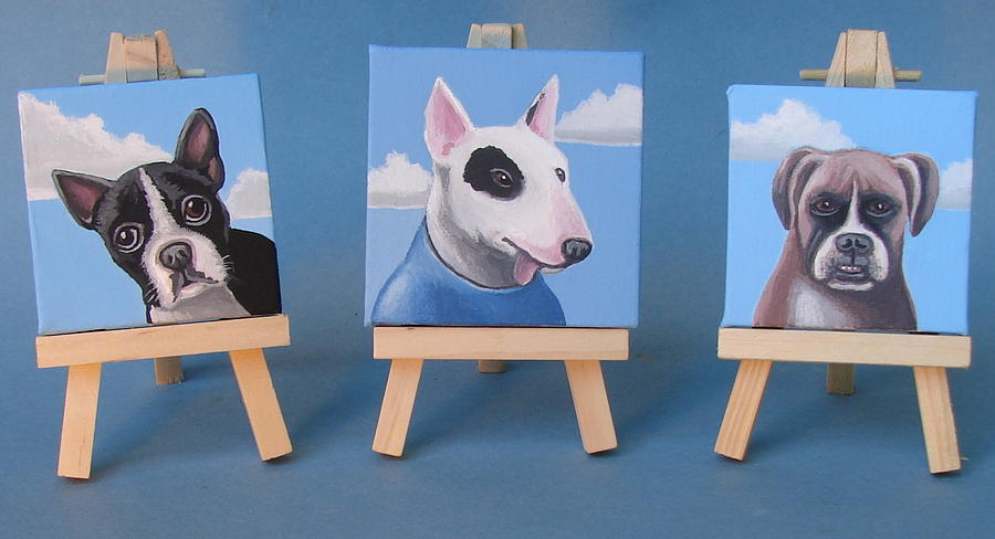 Mini Dog Portraits 2 Painting  - Mini Dog Portraits 2 Fine Art Print