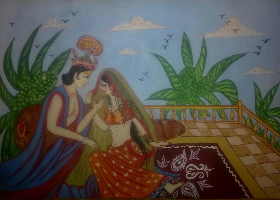 A Romantic Theme Painting - Miniature Art by Syeda Ishrat