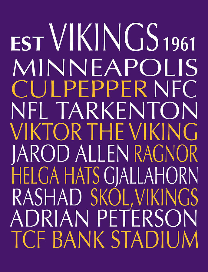 Minnesota Digital Art - Minnesota Vikings by Jaime Friedman
