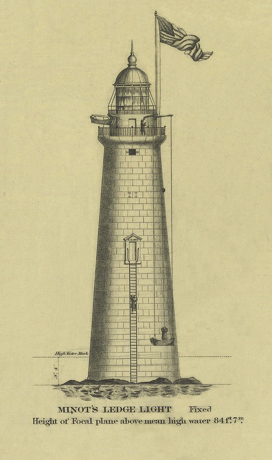 Minots Ledge Lighthouse Drawing  - Minots Ledge Lighthouse Fine Art Print