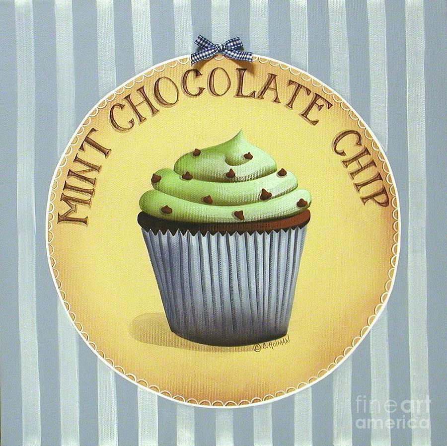 Mint Chocolate Chip Cupcake Painting