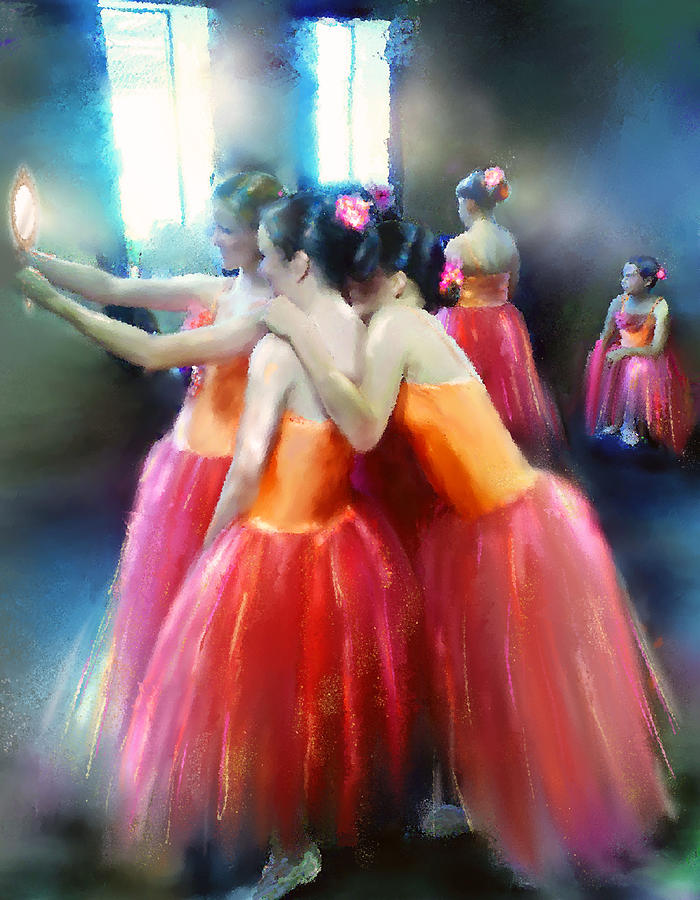 Mirrored Coral Dancers In Light Mixed Media