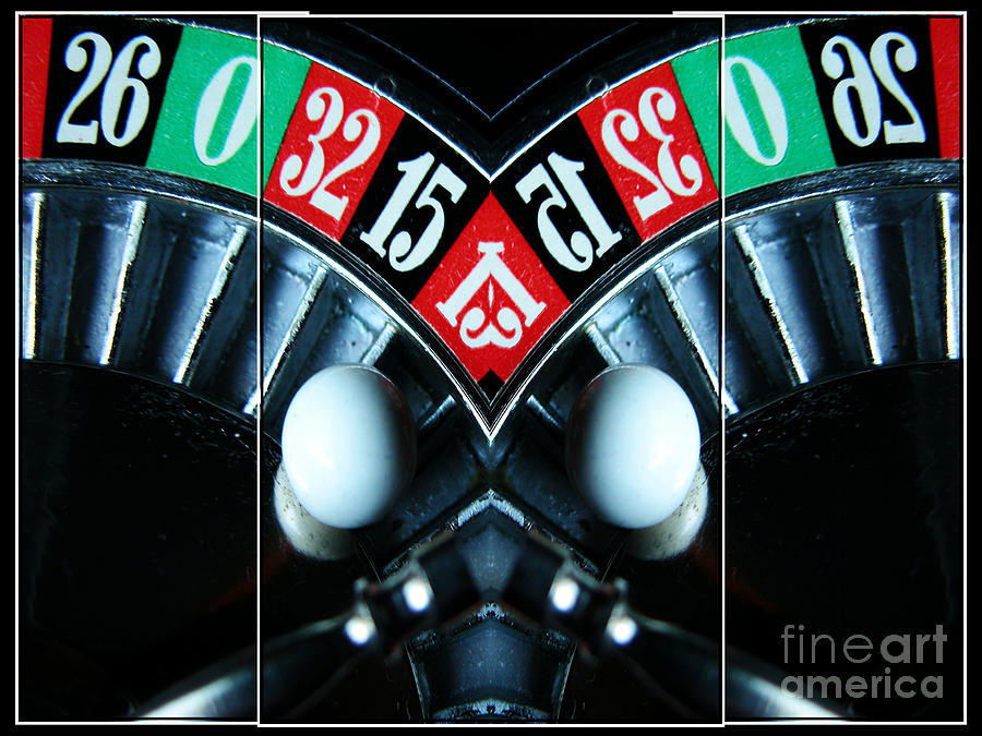 Mirrored Roulette Wheel Triptych Digital Art  - Mirrored Roulette Wheel Triptych Fine Art Print