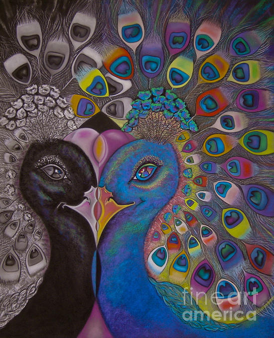 A Mirror Image Of Two Peacocks. Bold Pastel - Mirrororrim by Tracey Levine
