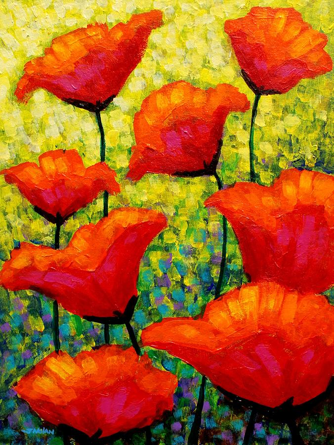 Poppies Painting - Mischas Poppies by John  Nolan