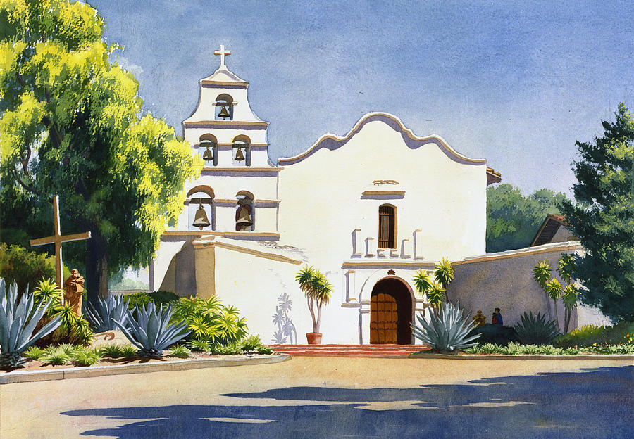 California Mission Painting - Mission San Diego De Alcala by Mary Helmreich