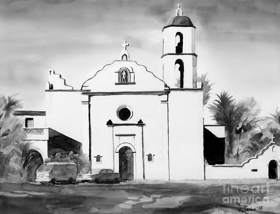 Mission San Luis Rey Bw Blue Painting