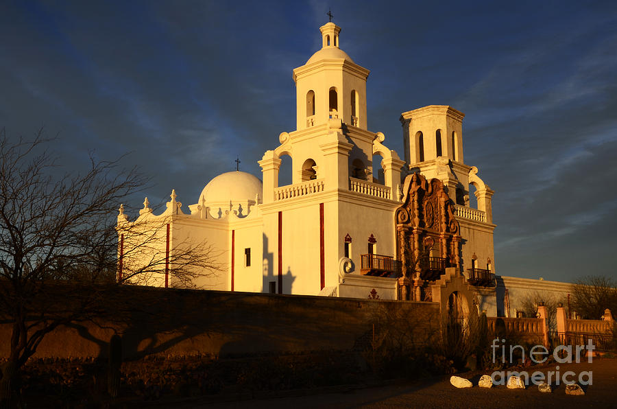 Mission San Xavier Del Bac Last Light Photograph  - Mission San Xavier Del Bac Last Light Fine Art Print