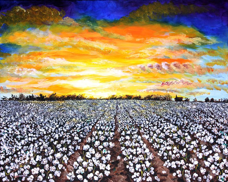 Mississippi Delta Cotton Field Sunset Painting by Karl Wagner