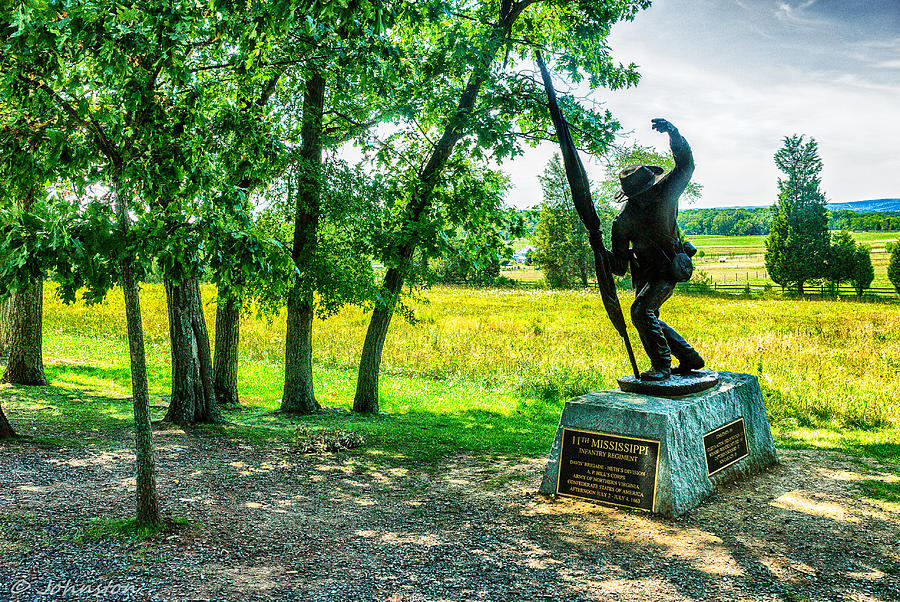Mississippi Memorial Gettysburg Battleground Digital Art  - Mississippi Memorial Gettysburg Battleground Fine Art Print