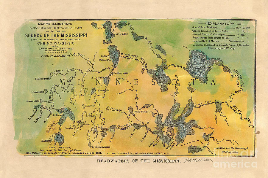 Mississippi River Headwaters 1887 Hand Painted Map