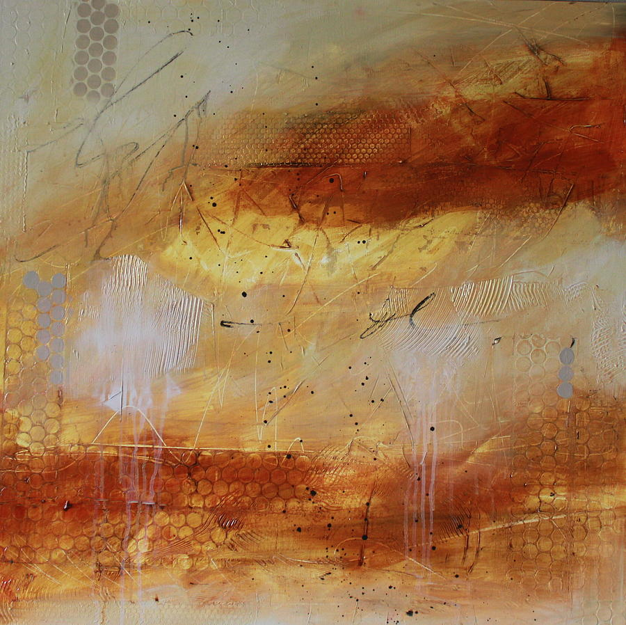 Abstract Yellow Painting - Mist #2 by Lauren Petit