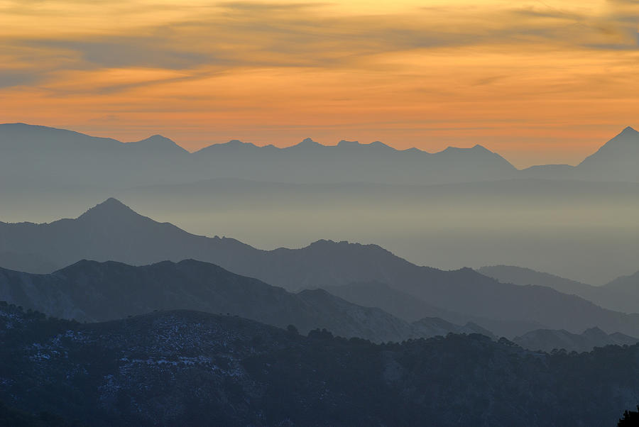 Mists In The Mountains At Sunset Photograph  - Mists In The Mountains At Sunset Fine Art Print