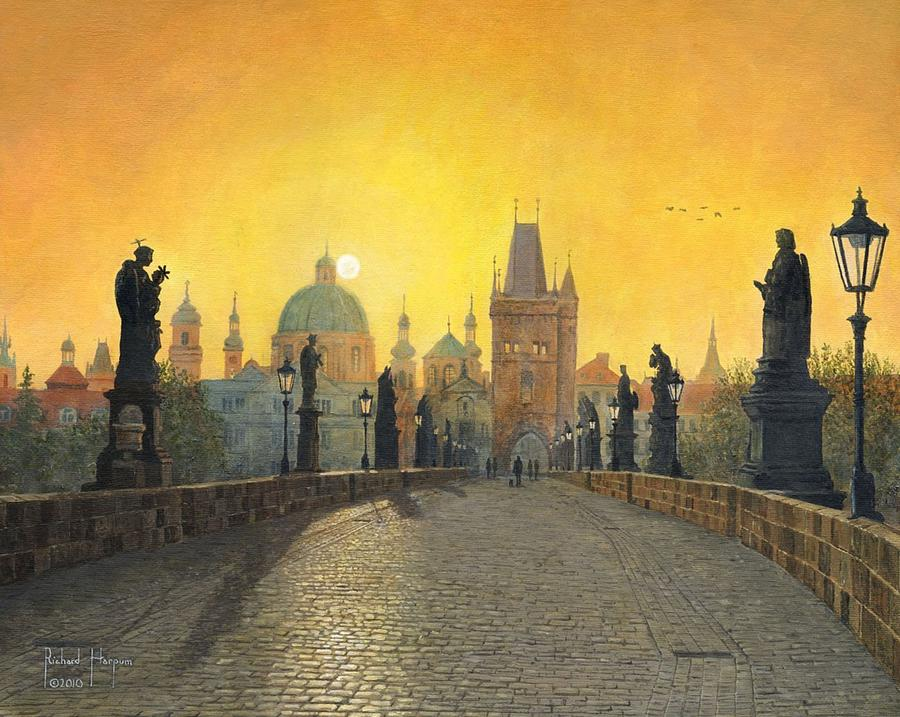 Landscape Painting - Misty Dawn Charles Bridge Prague by Richard Harpum