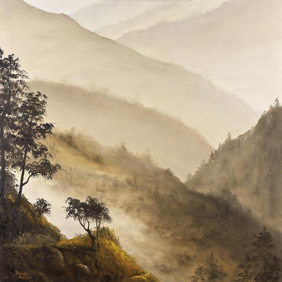 Landscape Painting - Misty Hills by Darice Machel McGuire