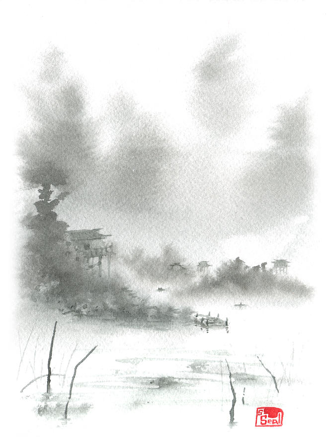 Misty Morning Fishing Village Painting
