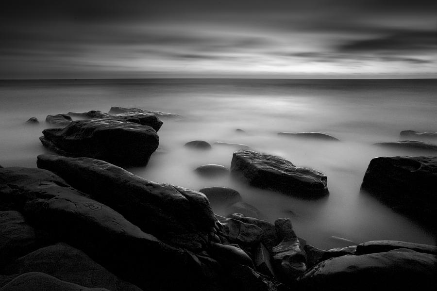 Black And White Misty : Misty water black and white photograph by peter tellone