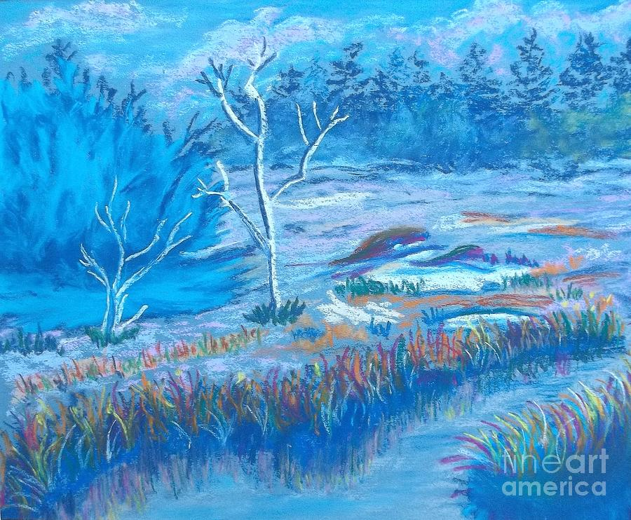 Misty Winter Stream Painting  - Misty Winter Stream Fine Art Print