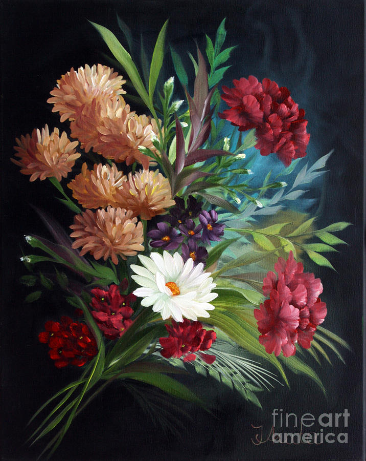 Mixed Flowers Painting  - Mixed Flowers Fine Art Print