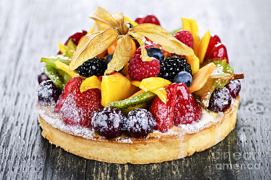 Mixed Tropical Fruit Tart Photograph  - Mixed Tropical Fruit Tart Fine Art Print