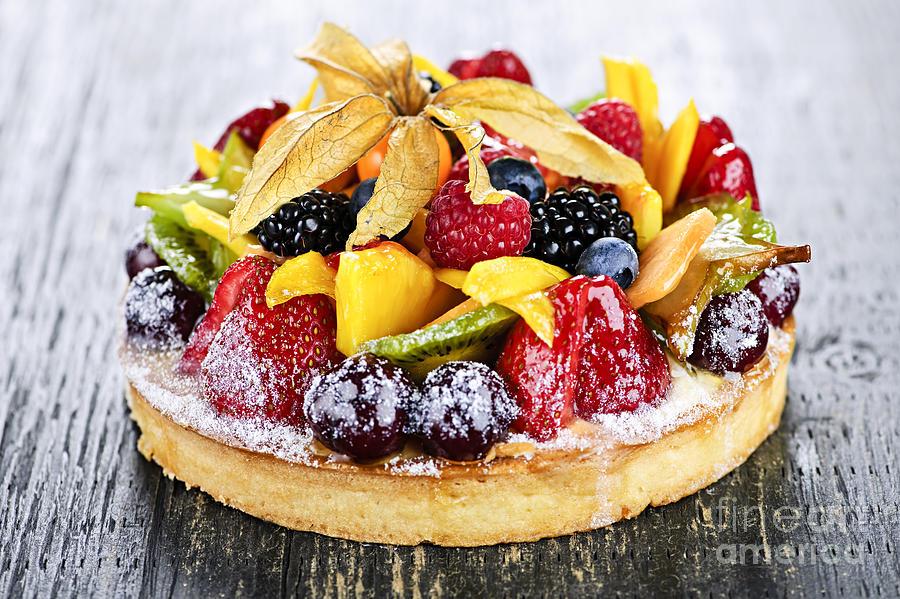 Tart Photograph - Mixed Tropical Fruit Tart by Elena Elisseeva