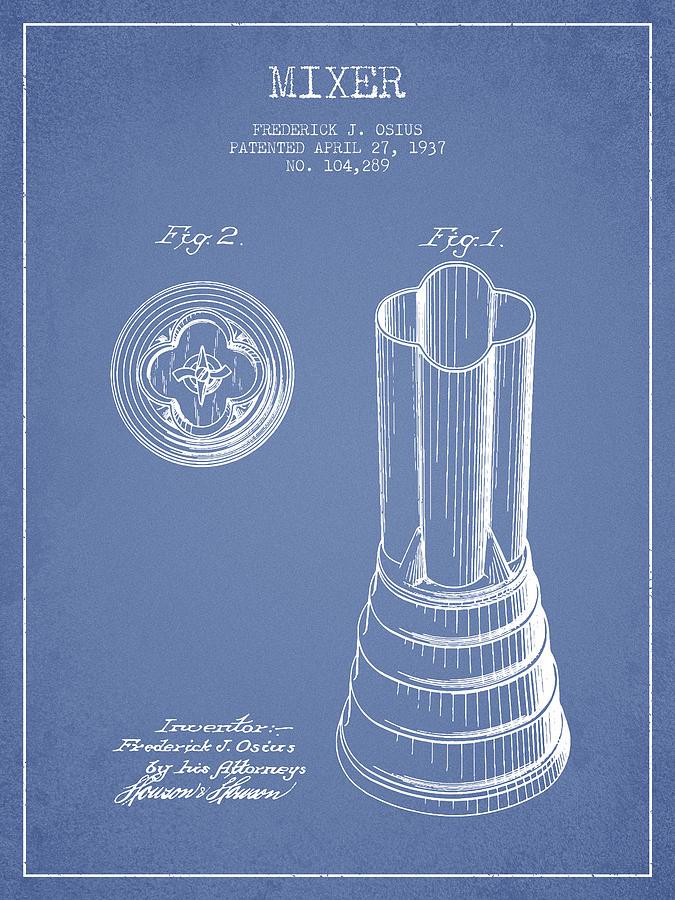 Mixer Patent From 1937 - Light Blue Digital Art