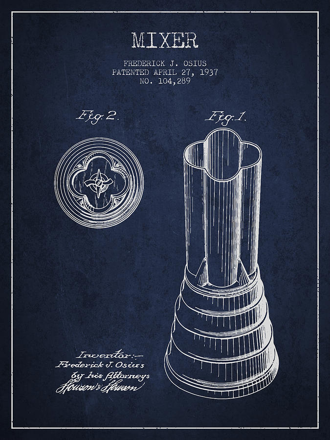 Mixer Patent From 1937 - Navy Blue Digital Art