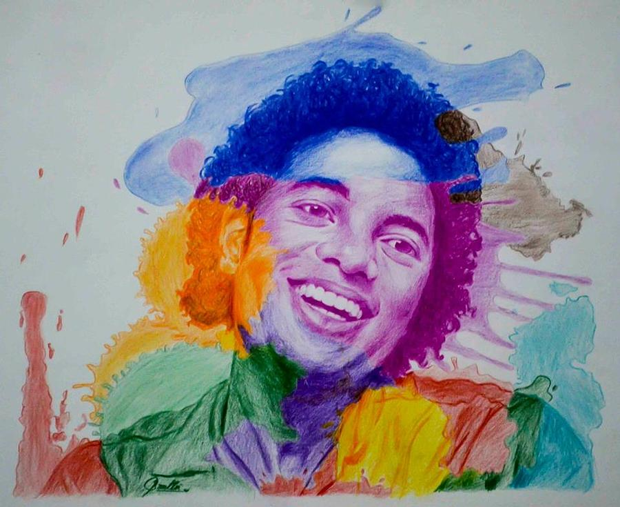 Michael Jackson Drawing - Mj Color Splatter by Sruthi Murali