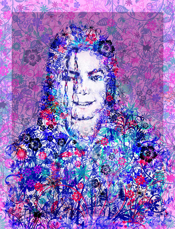 Michael Jackson Painting - Mj Floral Version by Bekim Art