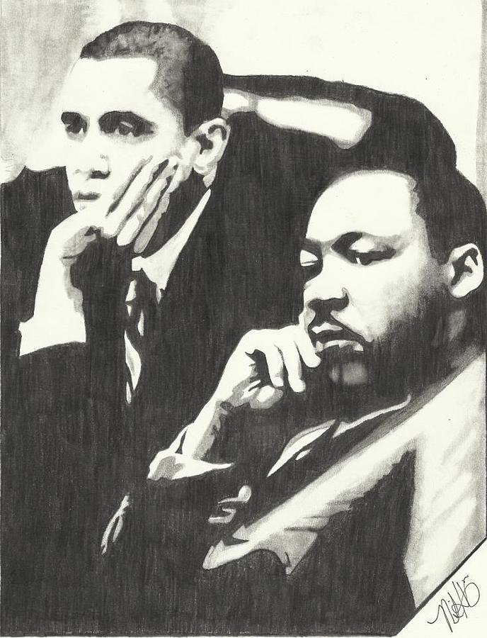 Martin Luther King Jr Drawing - Mlk And President Obama by Pics By Nick