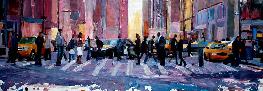 Mobile Society Crosswalking New York City Painting  - Mobile Society Crosswalking New York City Fine Art Print