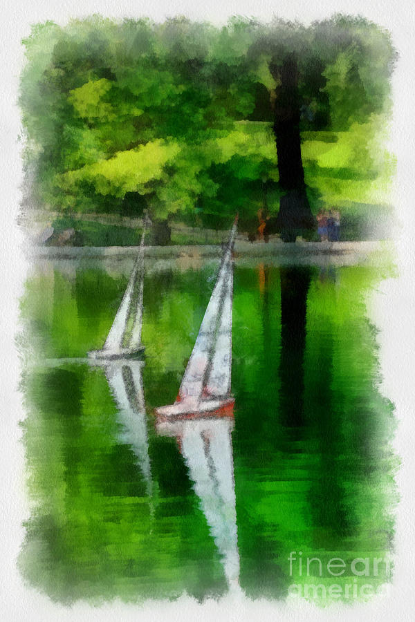 Model Boat Basin Central Park Digital Art  - Model Boat Basin Central Park Fine Art Print