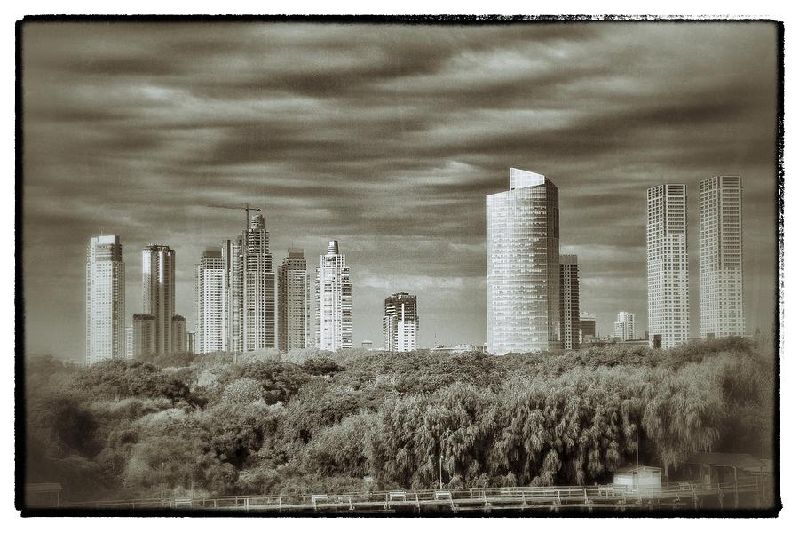 Modern Buenos Aires Black And White Relief  - Modern Buenos Aires Black And White Fine Art Print