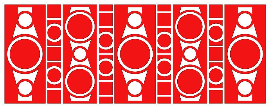 Red & White Digital Art - Modern Design II by Mike McGlothlen