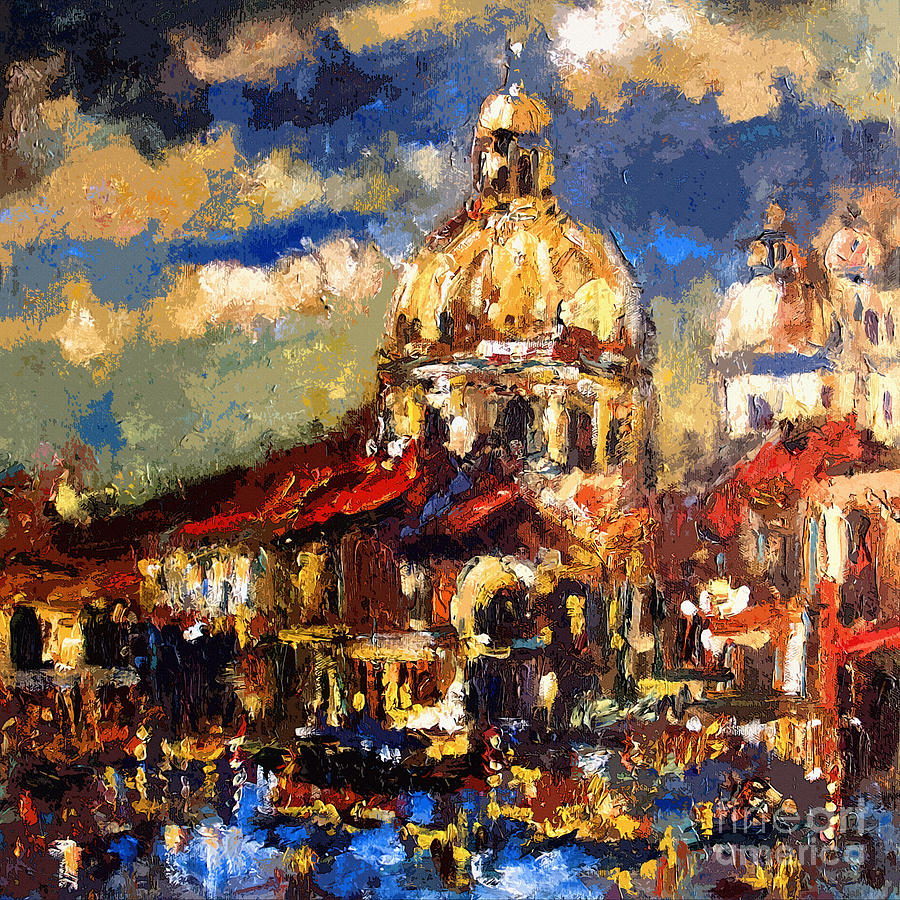 Modern Impressionist Venice Sparkling At Sunset  Painting