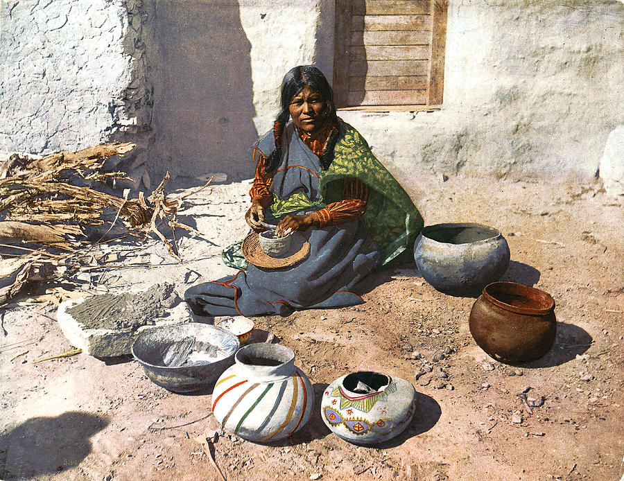 Moki Indian Potter 1899 Photograph  - Moki Indian Potter 1899 Fine Art Print