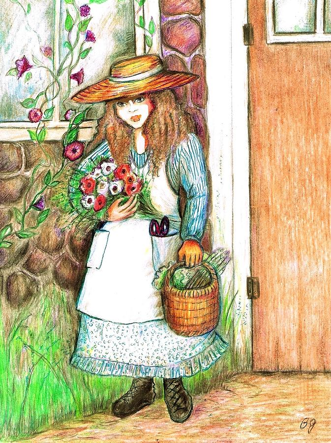 Molly Working In Her Garden Drawing