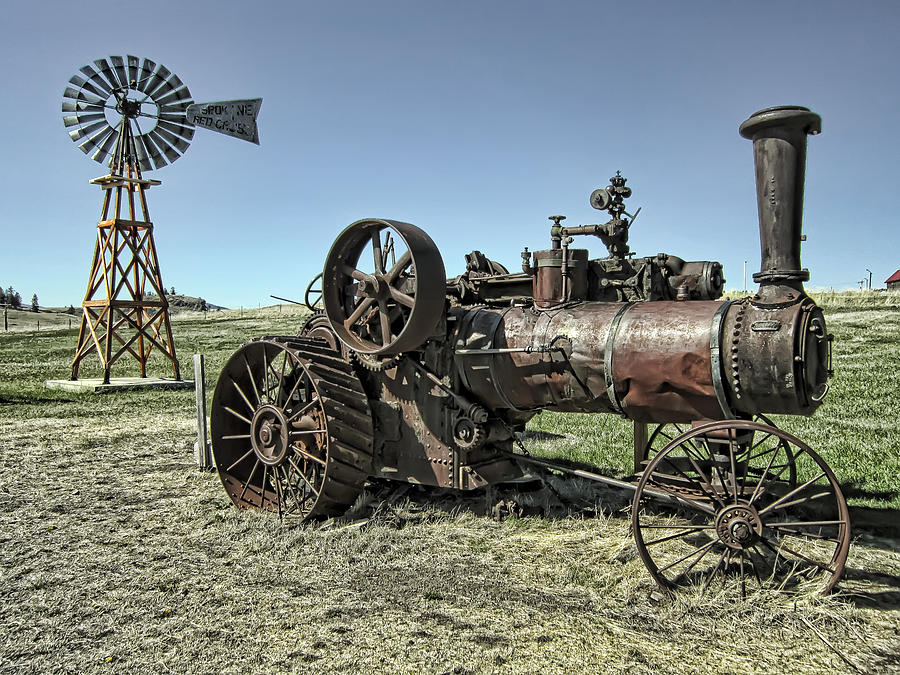 Molson Washington Ghost Town Steam Tractor And Wind Mill Photograph