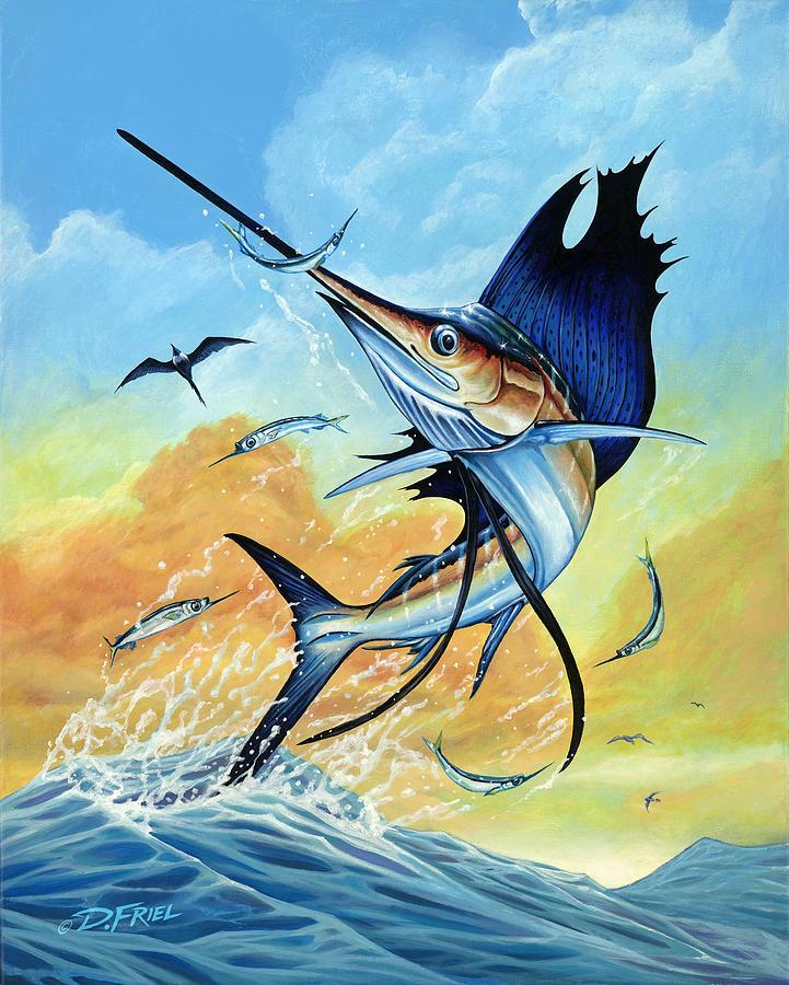 Jimmy Johnson's 2013 National Billfish Championship Painting - Momentum by Dennis Friel