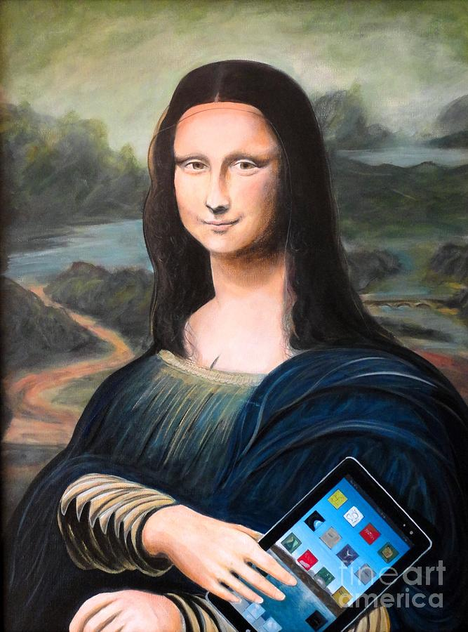 Mona Lisa With Ipad Painting  - Mona Lisa With Ipad Fine Art Print