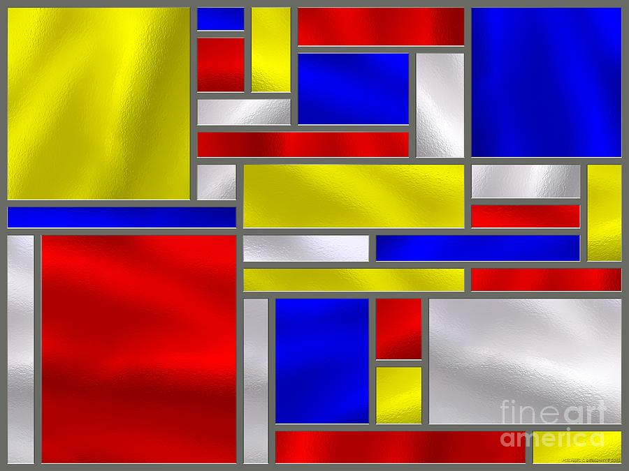 Mondrian Influenced Stained Glass Panel No10 Digital Art