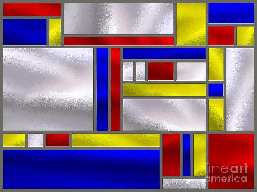 Mondrian Influenced Stained Glass Panel No9 Digital Art