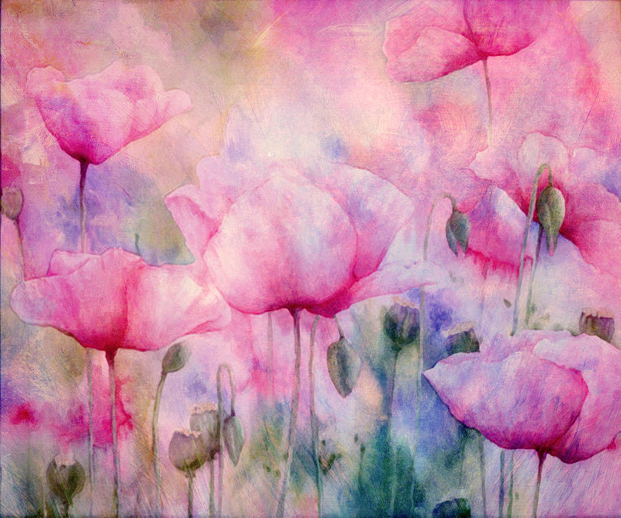 Monets Poppies Vintage Cool Painting  - Monets Poppies Vintage Cool Fine Art Print