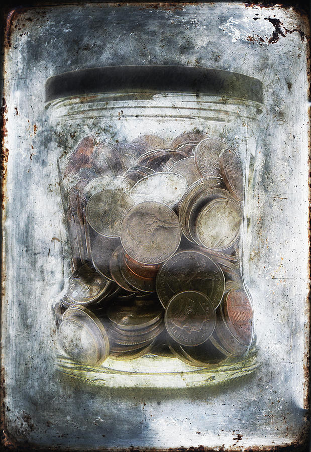 Money Frozen In A Jar Photograph