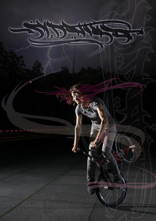 Monika Hinz Doing Great Bmx Flatland Action On Her Bike Photograph  - Monika Hinz Doing Great Bmx Flatland Action On Her Bike Fine Art Print