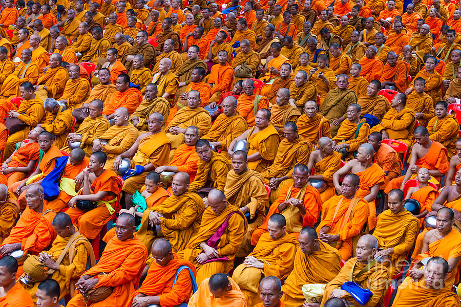 Alms Photograph - Monk Mass Alms Giving In Bangkok by Fototrav Print