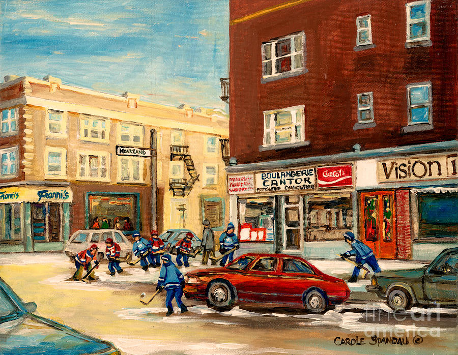 Monkland Street Hockey Game Montreal Urban Scene Painting  - Monkland Street Hockey Game Montreal Urban Scene Fine Art Print