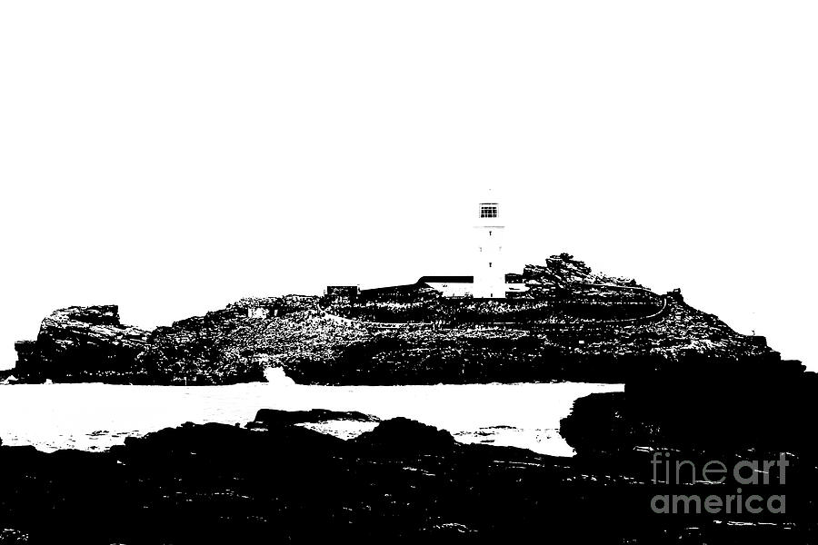Godrevy Island Photograph - Monochromatic Godrevy Island And Lighthouse by Terri Waters