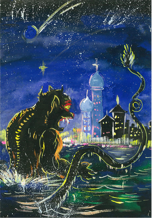 Monster In The City Painting