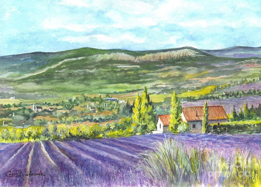 Watercolor Painting - Montagne De Lure In Provence France by Carol Wisniewski